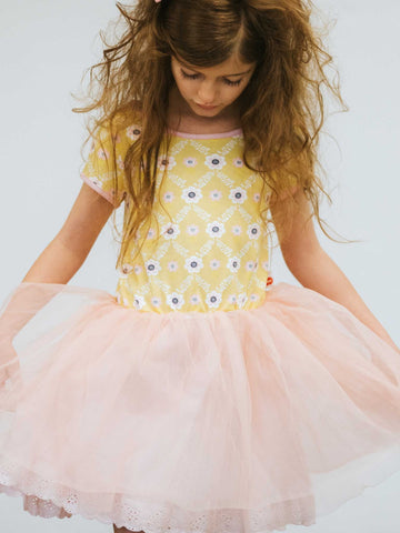 Girl in a yellow flower tulle dress