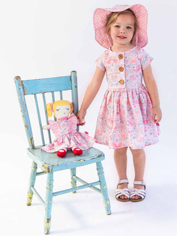 Pink butterfly dress and hat
