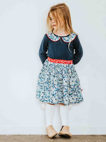 Harper Navy Primrose Winter Dress for Girls