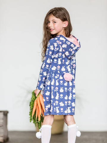 Girl in navy bunny dress
