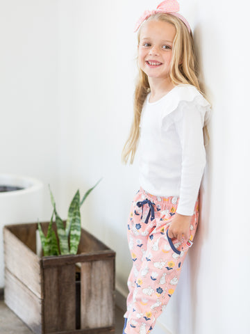 Girl in pink bunny pants