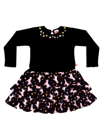 Magic Unicorn Dress with Hand-Embroidered Stars - Hello Sprinkles! - Alex Design Notes | Oobi Girls Kid Fashion