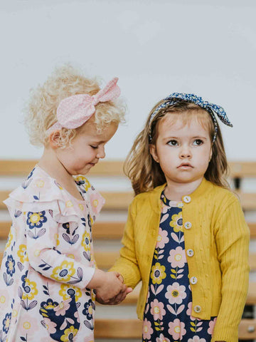 Darcy Dress Pink Scandi Flower and Misha Romper with Maxine Mustard Cardigan