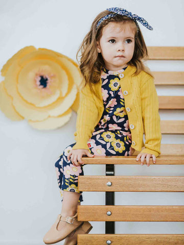 Misha Romper Navy Scandi Flowers and Mustard Maxine Cardigan