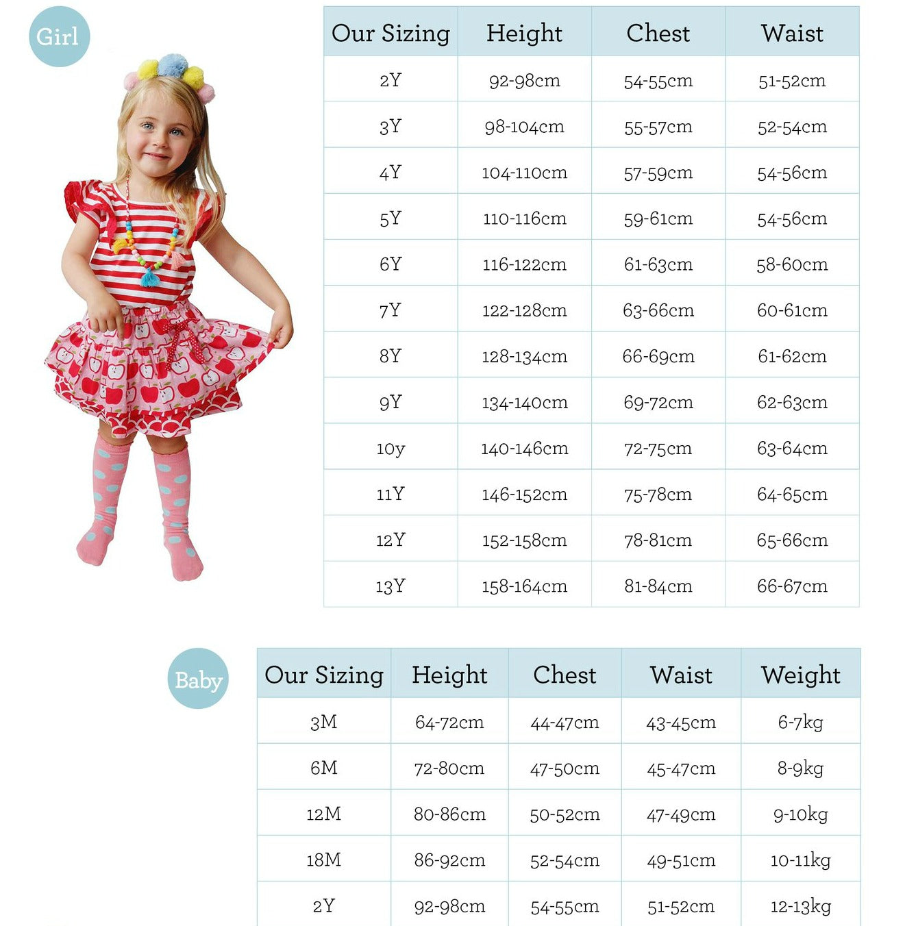 Size Guide & Care Instructions | Oobi Girls Kid Fashion