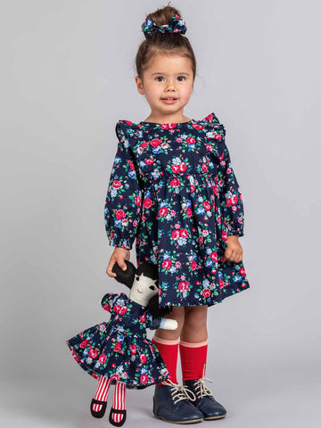 Blue matching doll dress