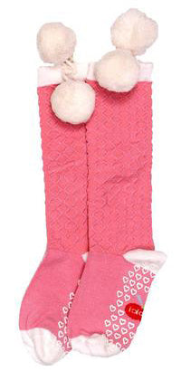 Knee High Pink Pom Pom Socks in 2Y - 6Y - The Happiness Blog | Oobi Girls Kid Fashion