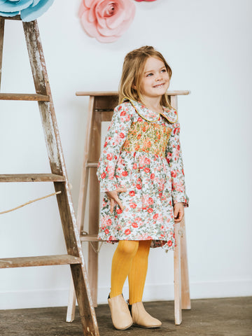Roses Floral Print Winter Dress for Girls