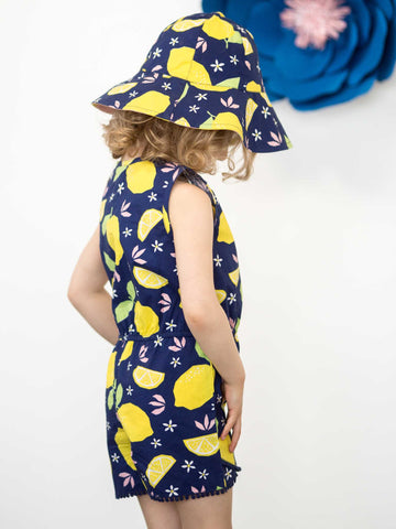 Girl in blue lemon hat