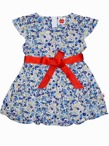 Sabrina Navy Primrose Dress (shown with red grosgrain belt - Fabric belt in hero image above), Sizes in 2Y - 12Y - The Happiness Blog | Oobi Girls Kid Fashion