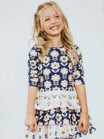 Sienna Dress Navy Scandi Flowers