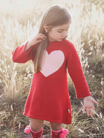 Sweetheart Knitted Winter Dress for Girls