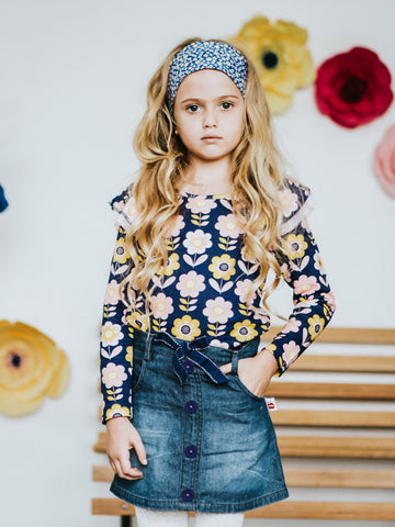 Demi Skirt with Navy Bow for Girls