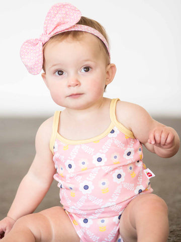 Baby in pink flower swimwear