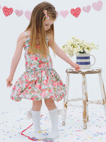Tegan Pink Roses Dress, Sizes in 3Y - 6Y - The Happiness Blog | Oobi Girls Kid Fashion
