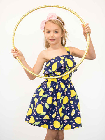 Girl in blue lemon dress