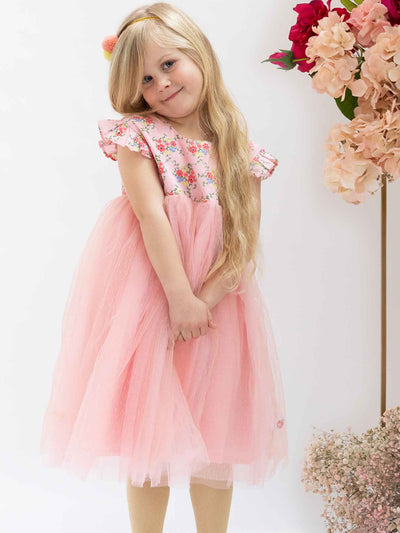 Pink tulle flower dress