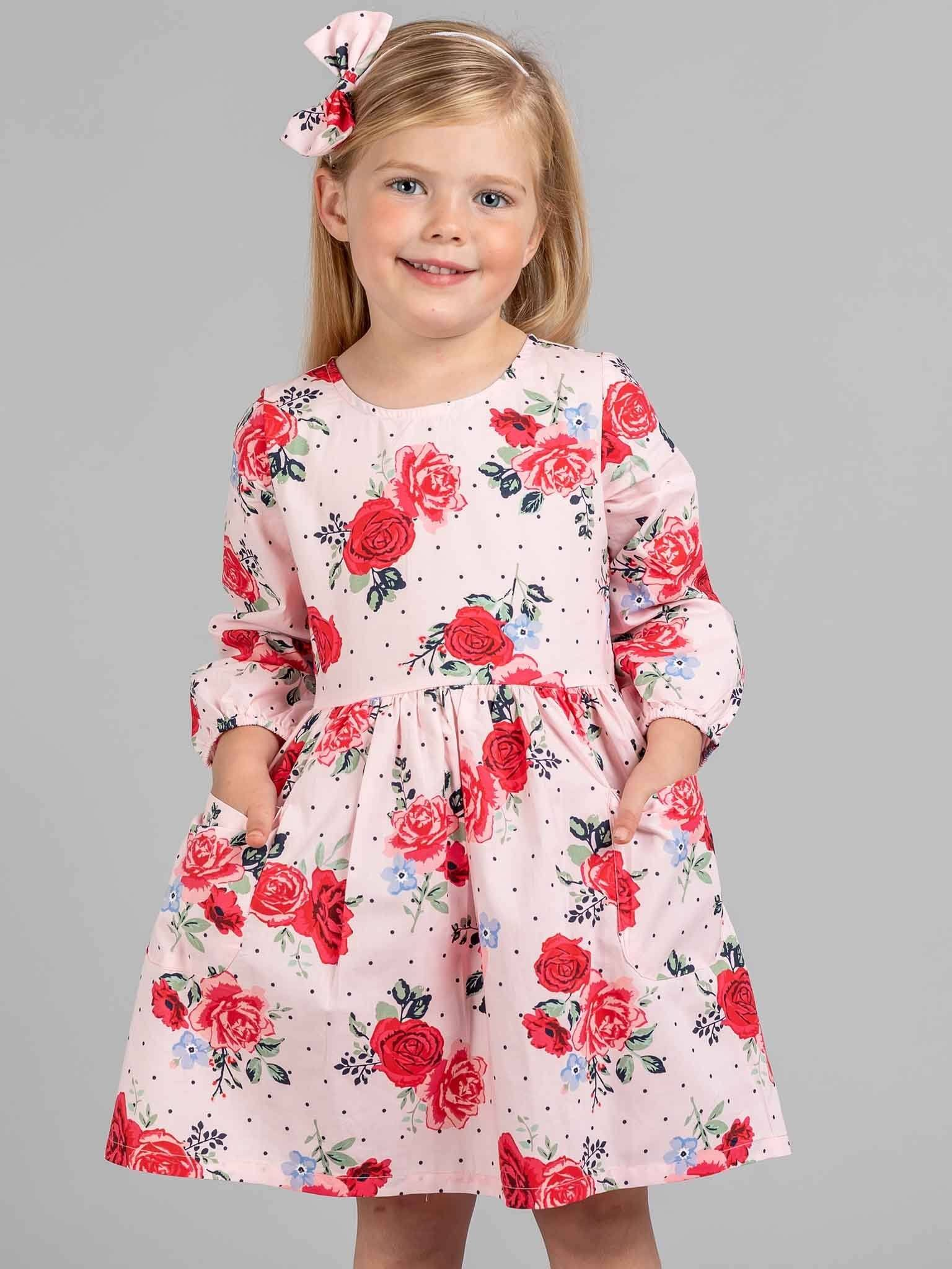 Megan Long Sleeved Dress Pink Bouquet
