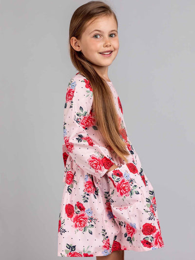 Megan Long Sleeved Dress Pink Bouquet, Dresses - Oobi Girls Kid Fashion