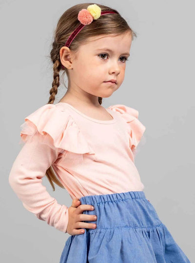 Sweetheart Long Sleeved Tee Sherbet Pink, Tops - Oobi Girls Kid Fashion