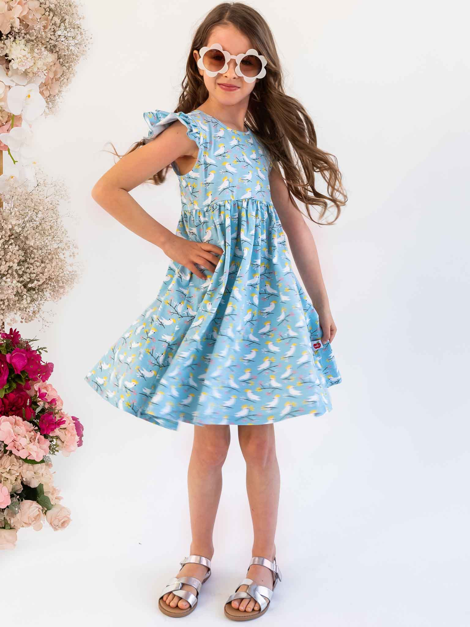 Blue cockatoo dress