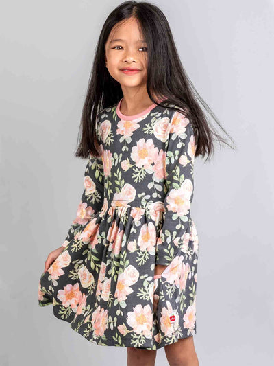 Elsa Long Sleeved Dress Midnight Watercolour, Dresses - Oobi Girls Kid Fashion