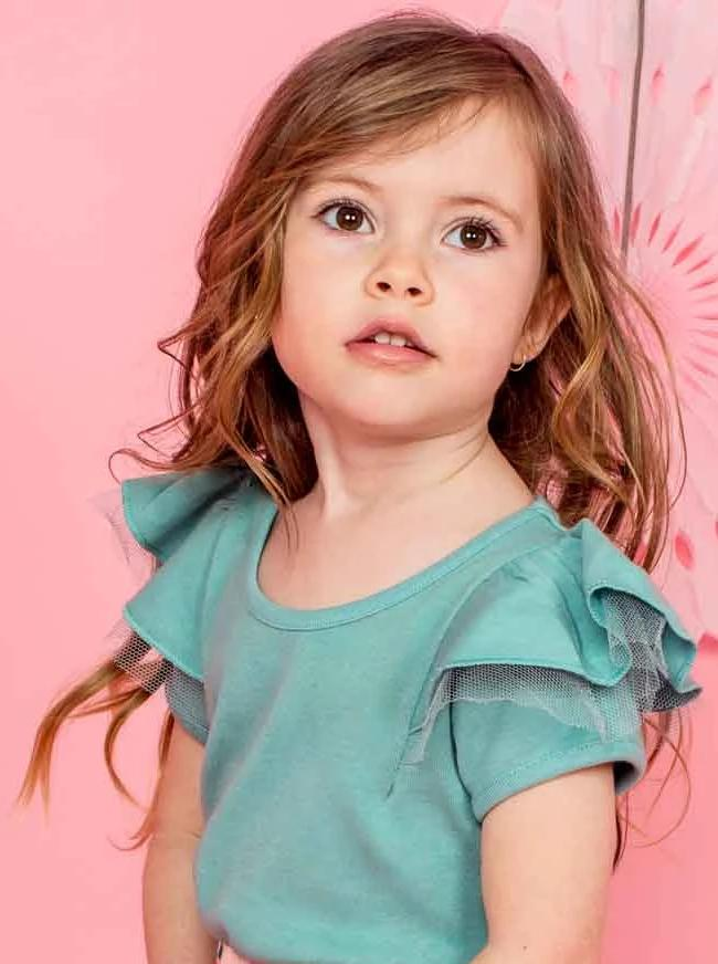 Sweetheart Short Sleeved Tee Teal, Tops - Oobi Girls Kid Fashion