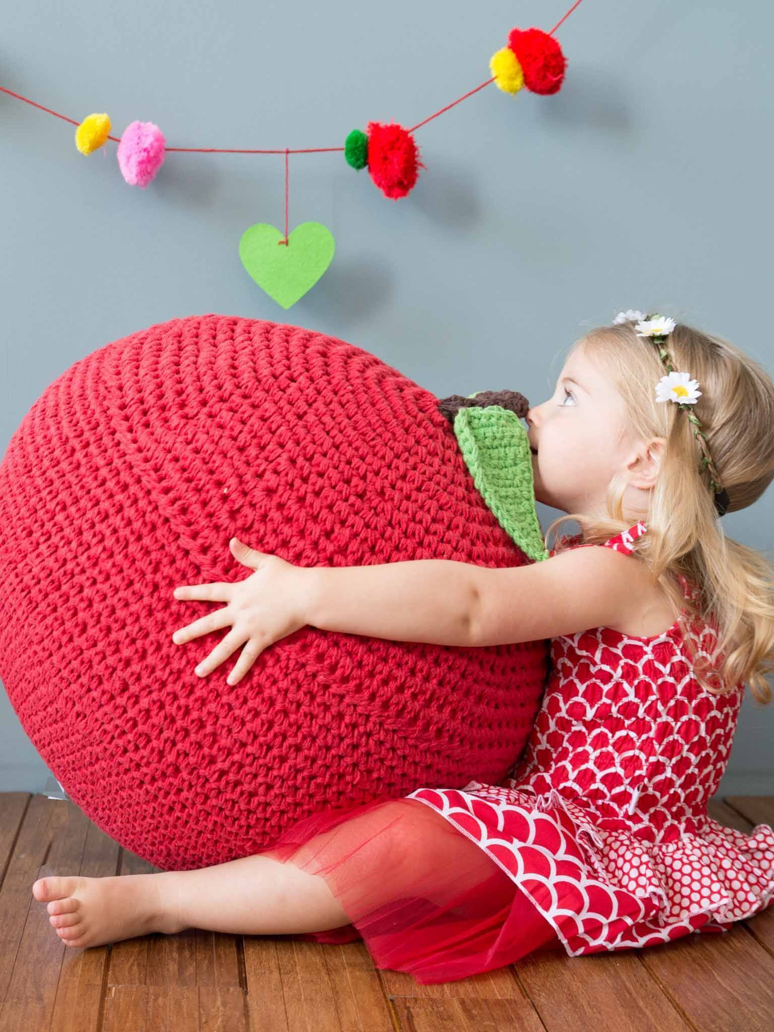 Fruiti Red Apple Ottoman, Homewares - Oobi Girls Kid Fashion