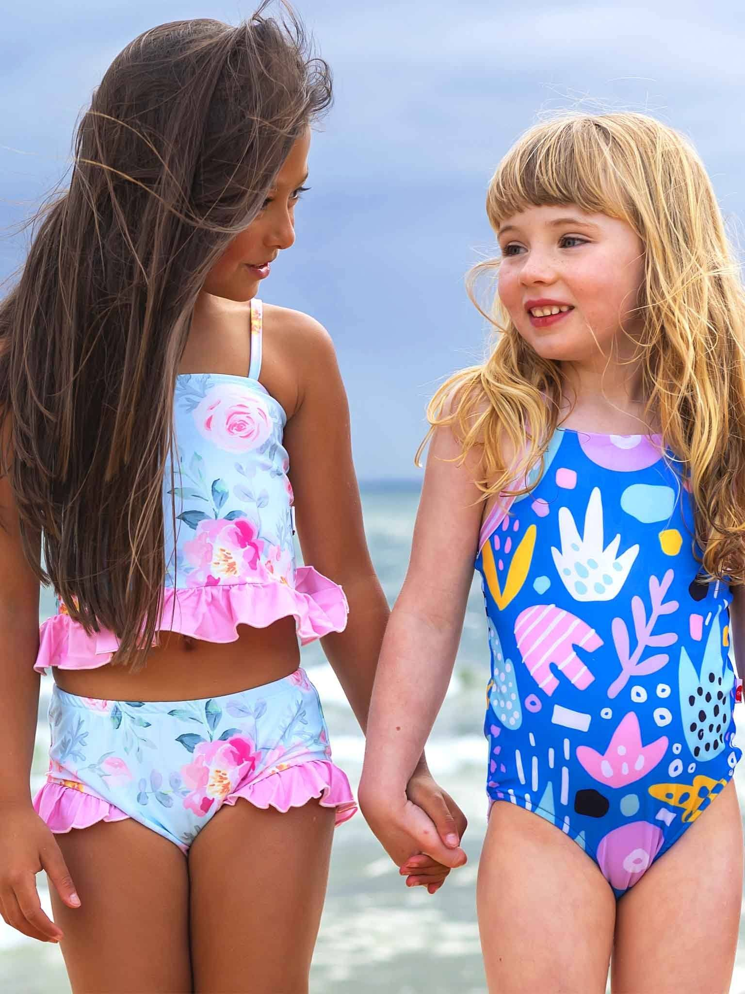Kylie Bikini Set Blue Watercolour, Swim - Oobi Girls Kid Fashion