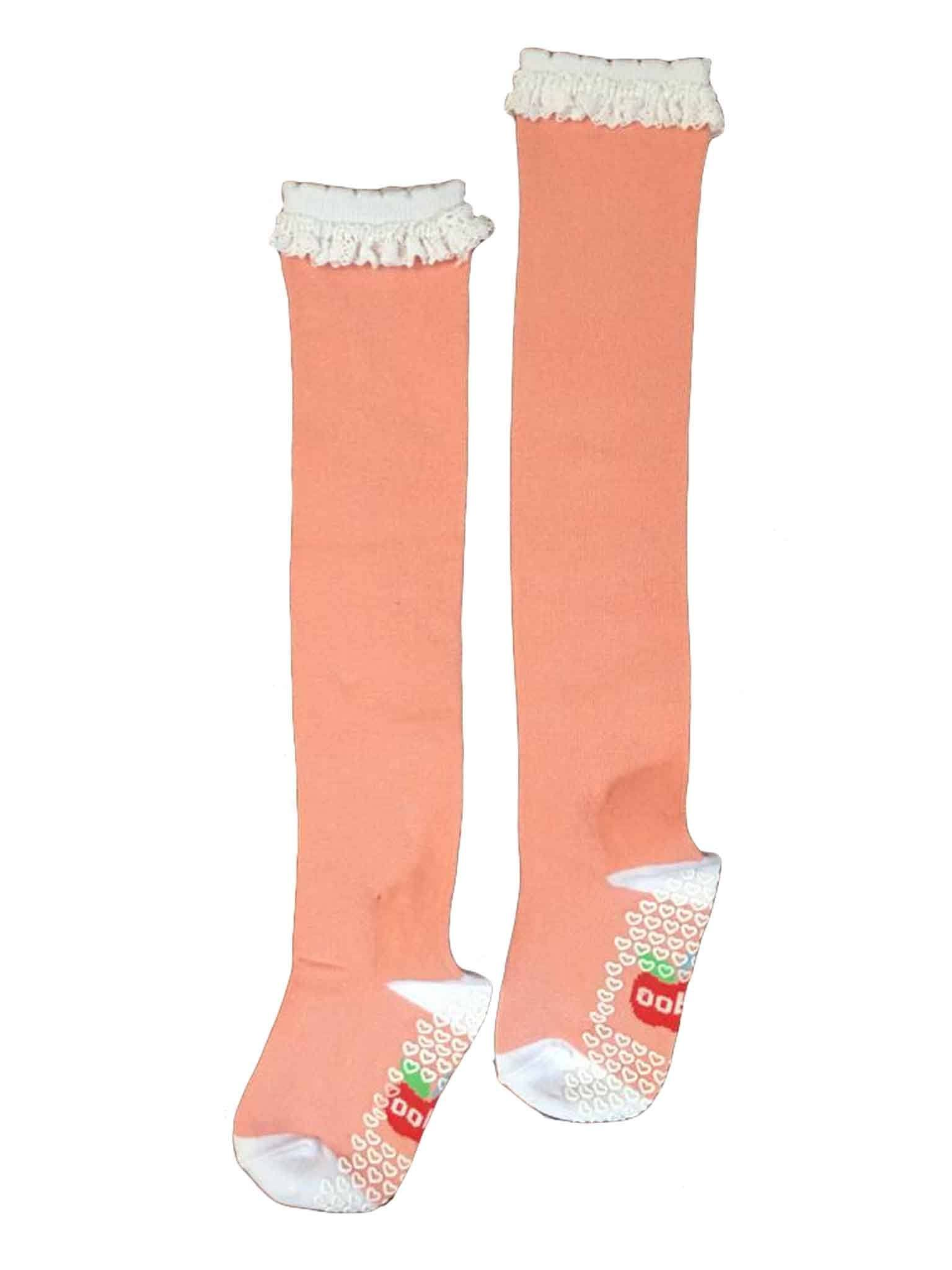 Over the Knee Blush Lacy Socks, Socks and Tights - Oobi Girls Kid Fashion