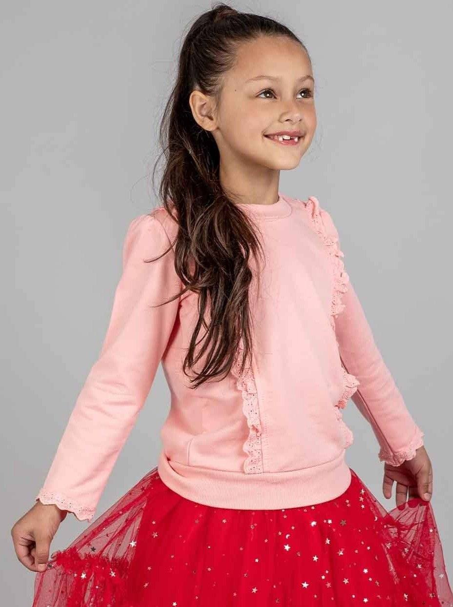 Lacy Sweatshirt Baby Pink, Tops - Oobi Girls Kid Fashion