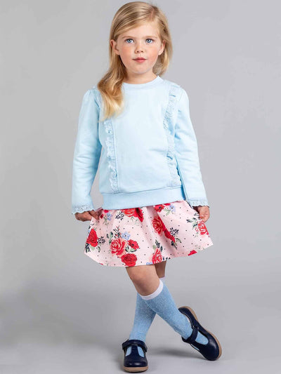 Lacy Sweatshirt Baby Blue, Tops - Oobi Girls Kid Fashion