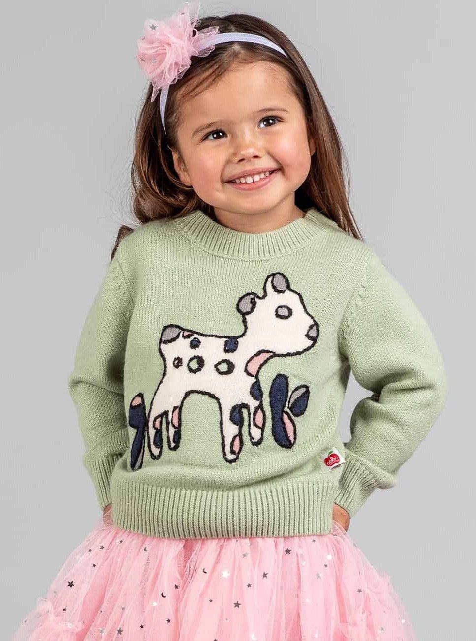Lambykins Sweater Grassy Green, Sweaters & Cardigans - Oobi Girls Kid Fashion