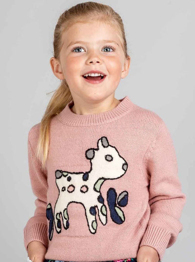 Lambykins Sweater Pink Cloud, Sweaters & Cardigans - Oobi Girls Kid Fashion