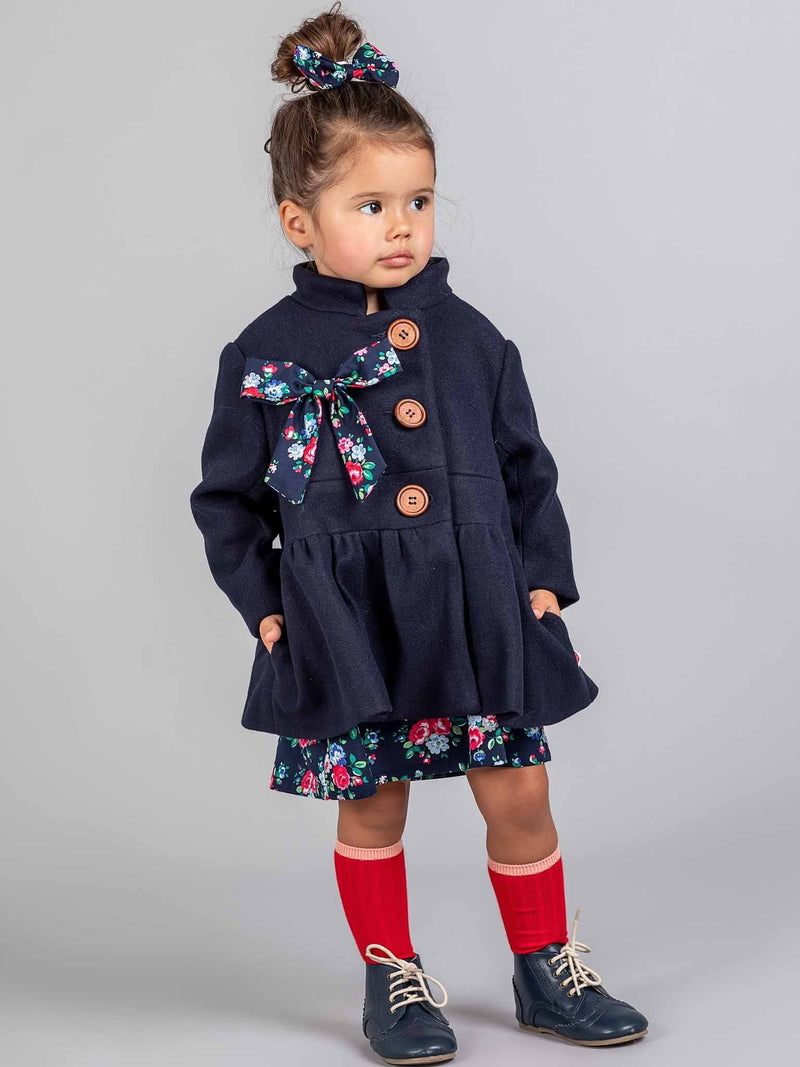 Madeline Coat Deep Navy, Jackets & Capes - Oobi Girls Kid Fashion
