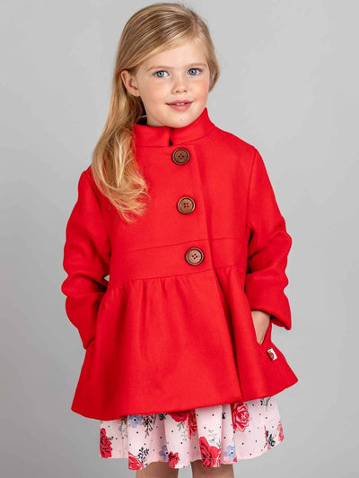 Madeline Coat Lollypop Red, Jackets & Capes - Oobi Girls Kid Fashion
