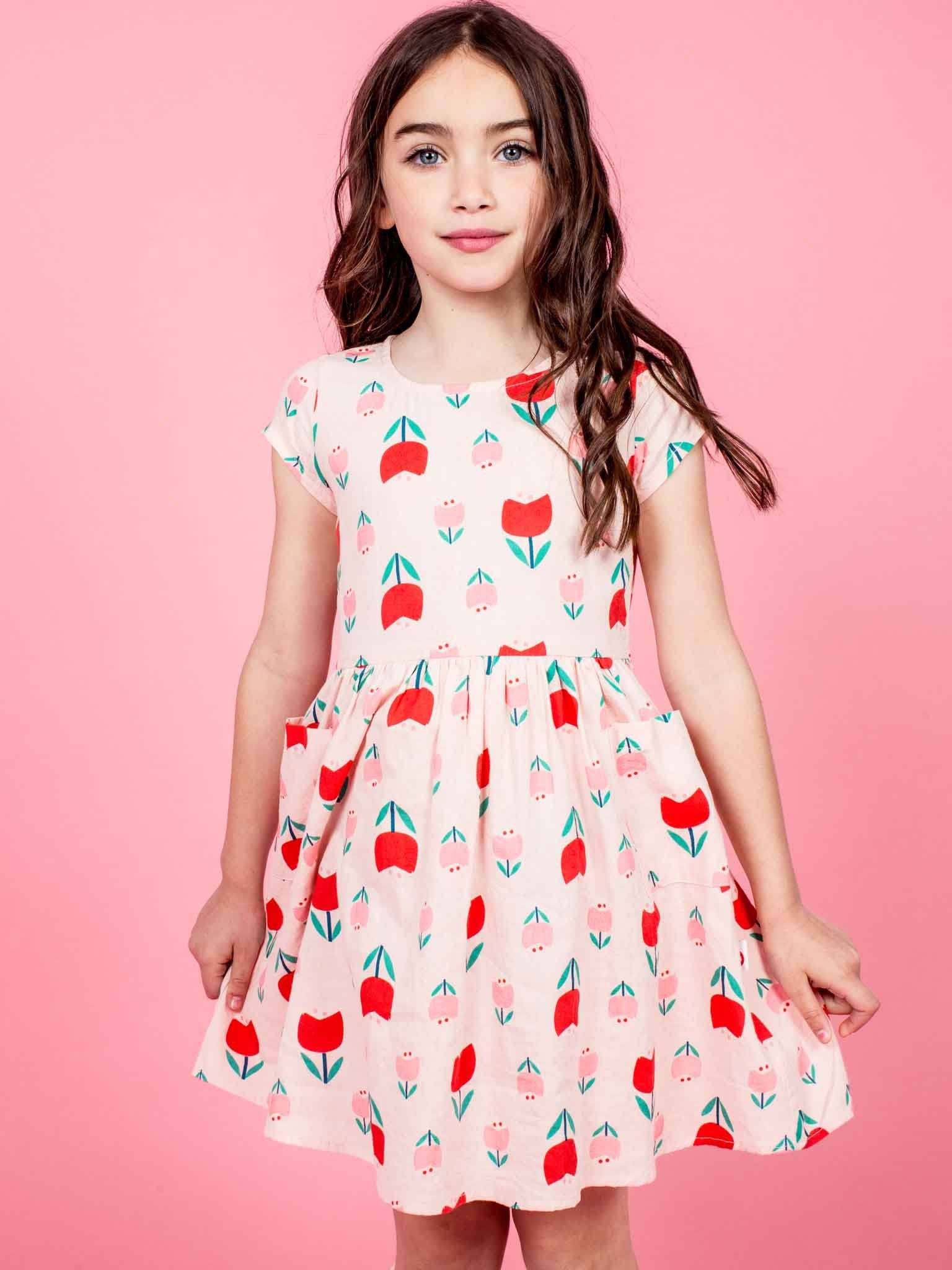 Megan Short Sleeved Dress Pink Tulip