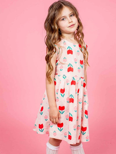 Megan Short Sleeved Dress Pink Tulip, Dresses - Oobi Girls Kid Fashion