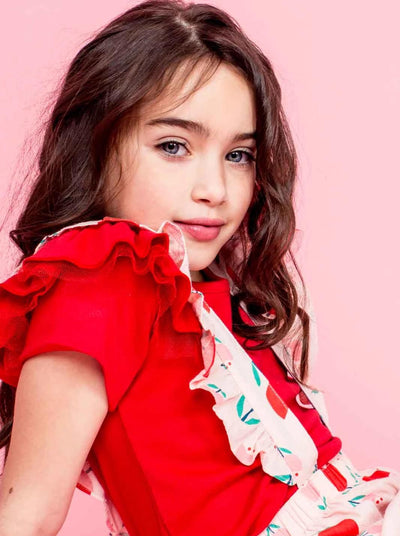 Sweetheart Short Sleeved Tee Ruby Red, Tops - Oobi Girls Kid Fashion