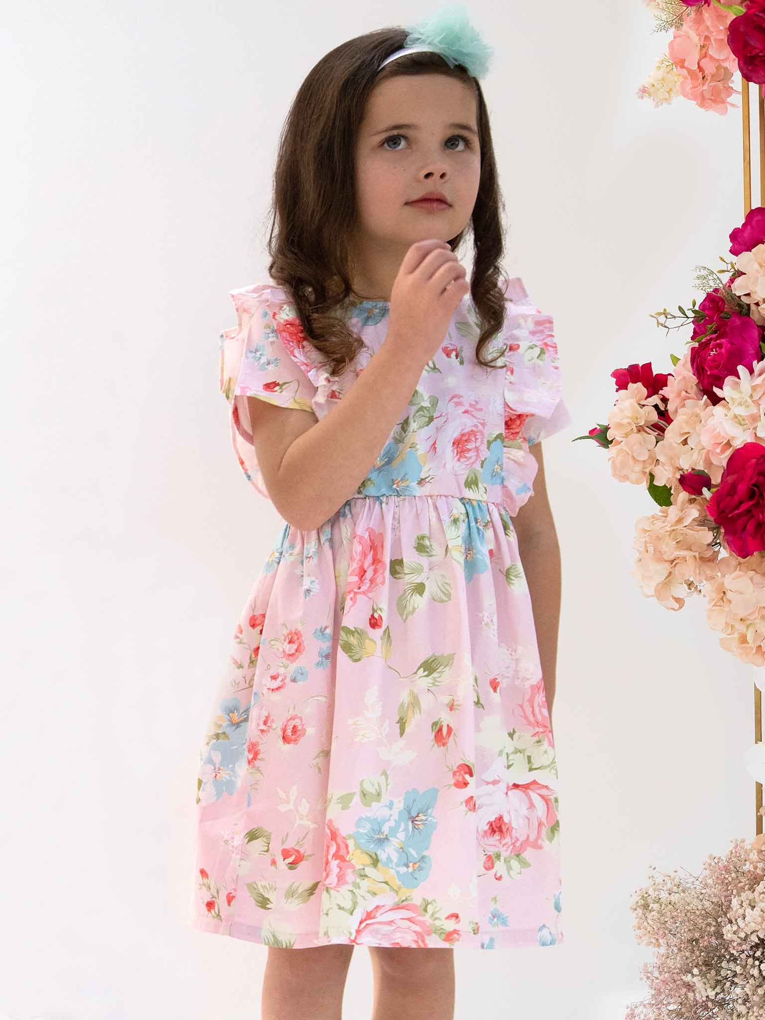 Girls pink flower dress