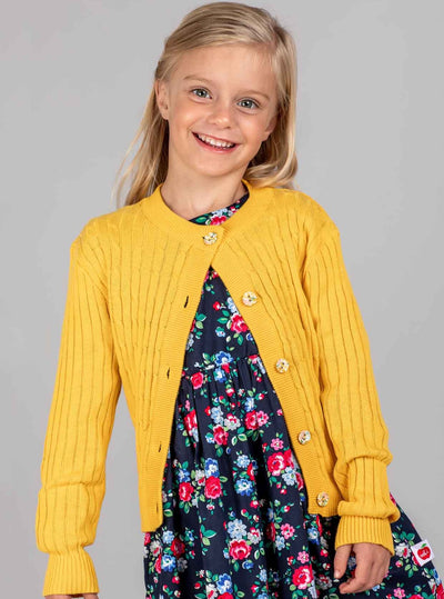 Penelope Long Sleeved Dress Navy Bouquet, Dresses - Oobi Girls Kid Fashion