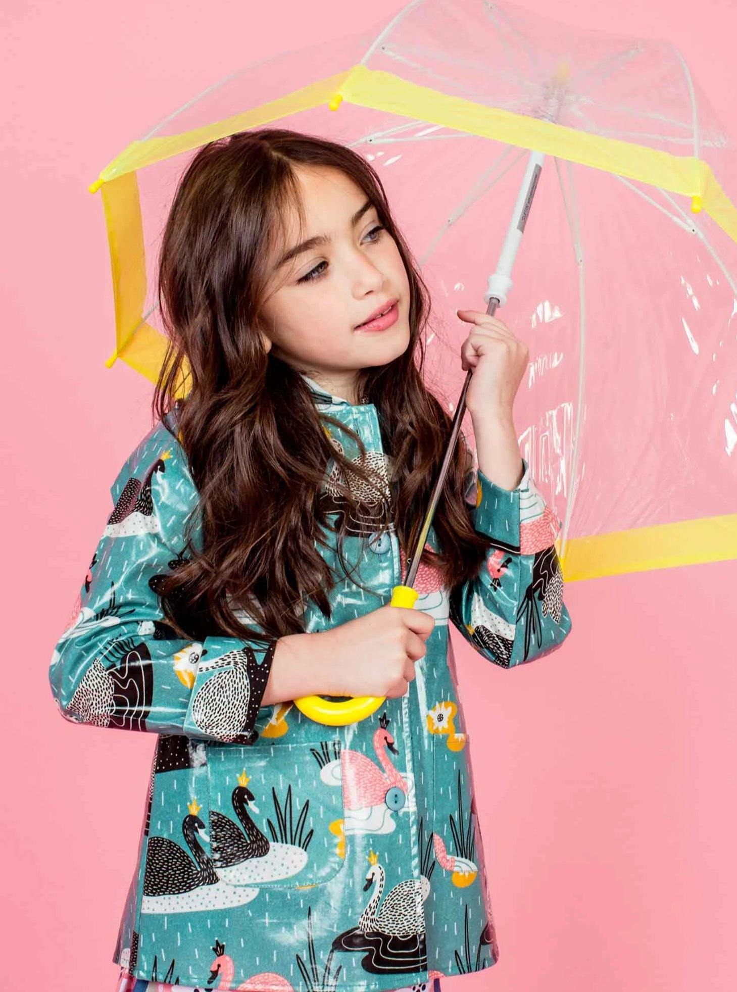 Raincoat Teal Swan, Jackets & Capes - Oobi Girls Kid Fashion