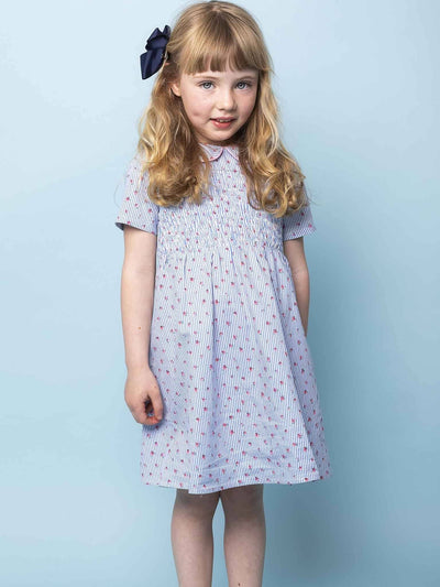 Rebecca Short Sleeved Dress Blue Tiny Roses, Dresses - Oobi Girls Kid Fashion