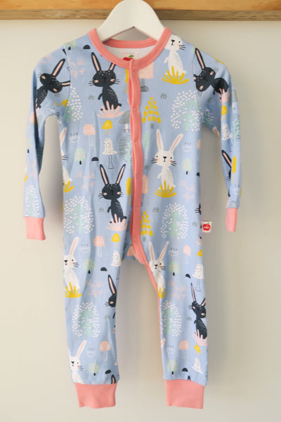 Misha Long Sleeved Romper Blue Honey Bunny, Playsuits - Oobi Girls Kid Fashion