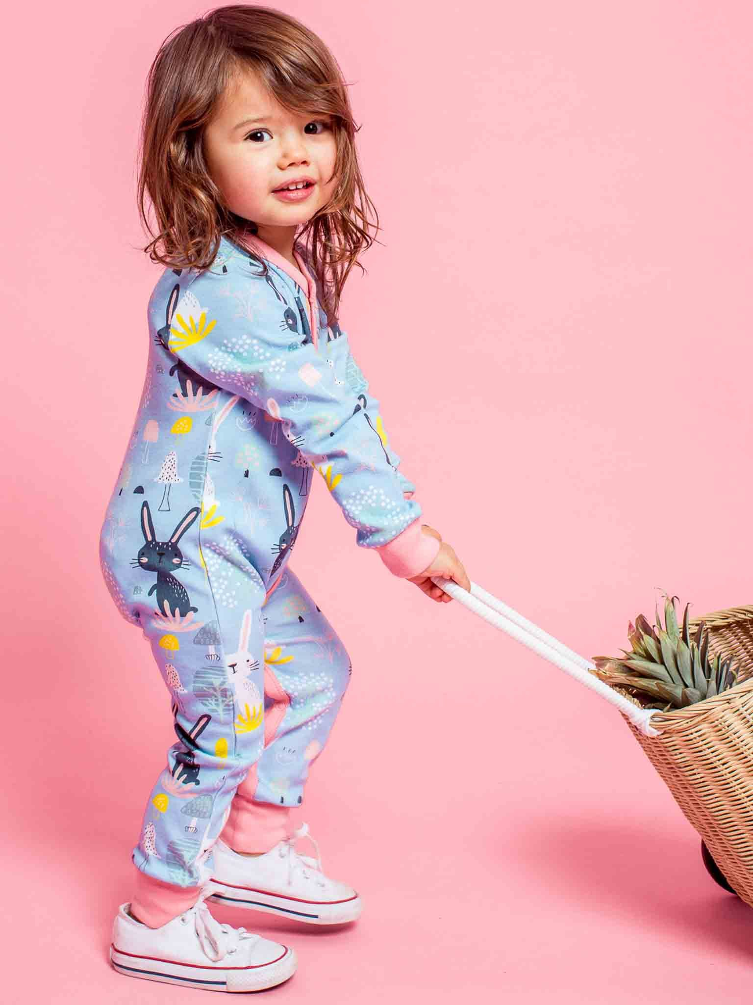 Misha Long Sleeved Romper Blue Honey Bunny