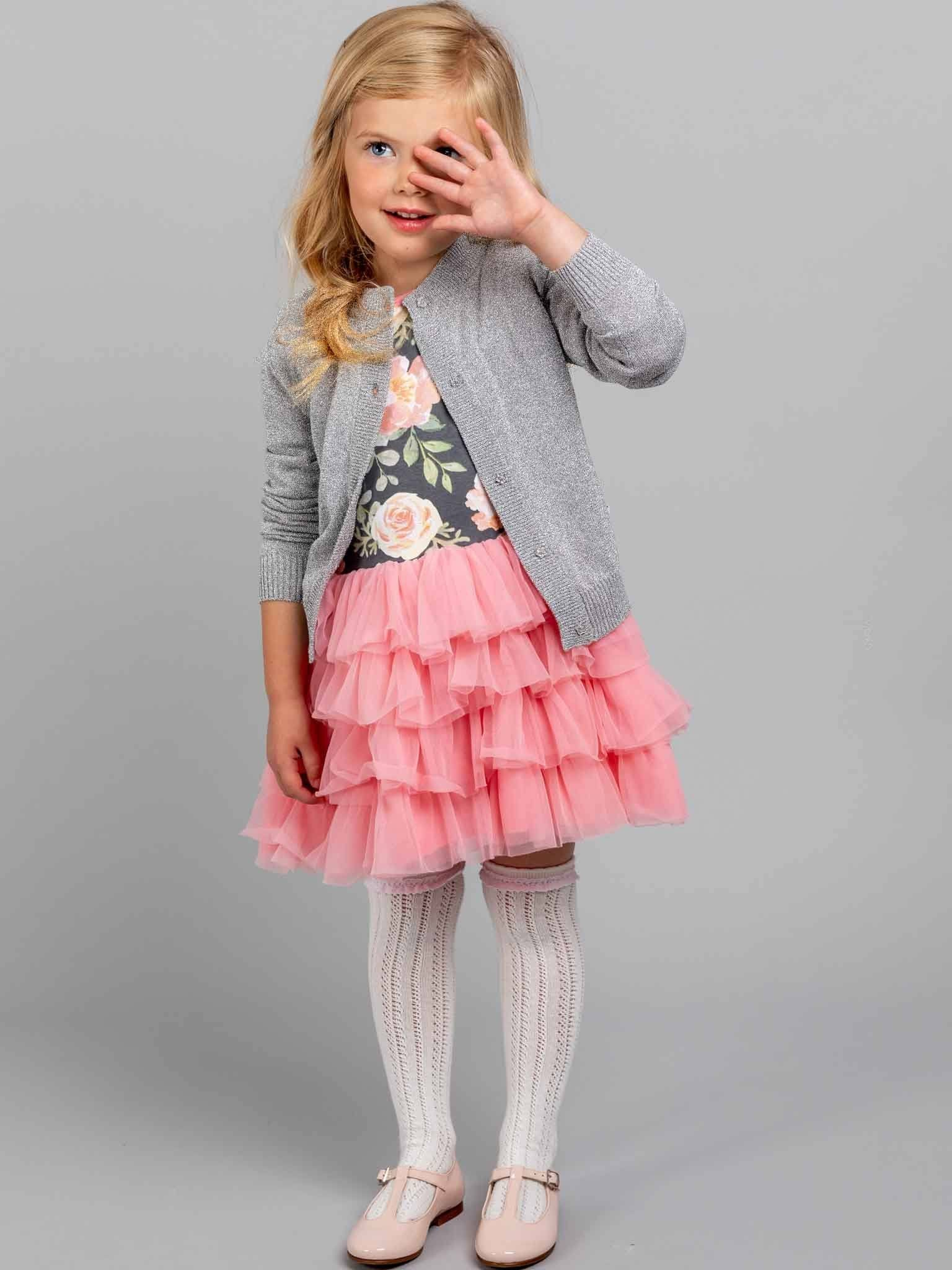 Lola Long Sleeved Dress Midnight Watercolour, Dresses - Oobi Girls Kid Fashion