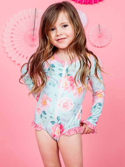 Stella Swimsuit Blue Watercolour, Swim - Oobi Girls Kid Fashion