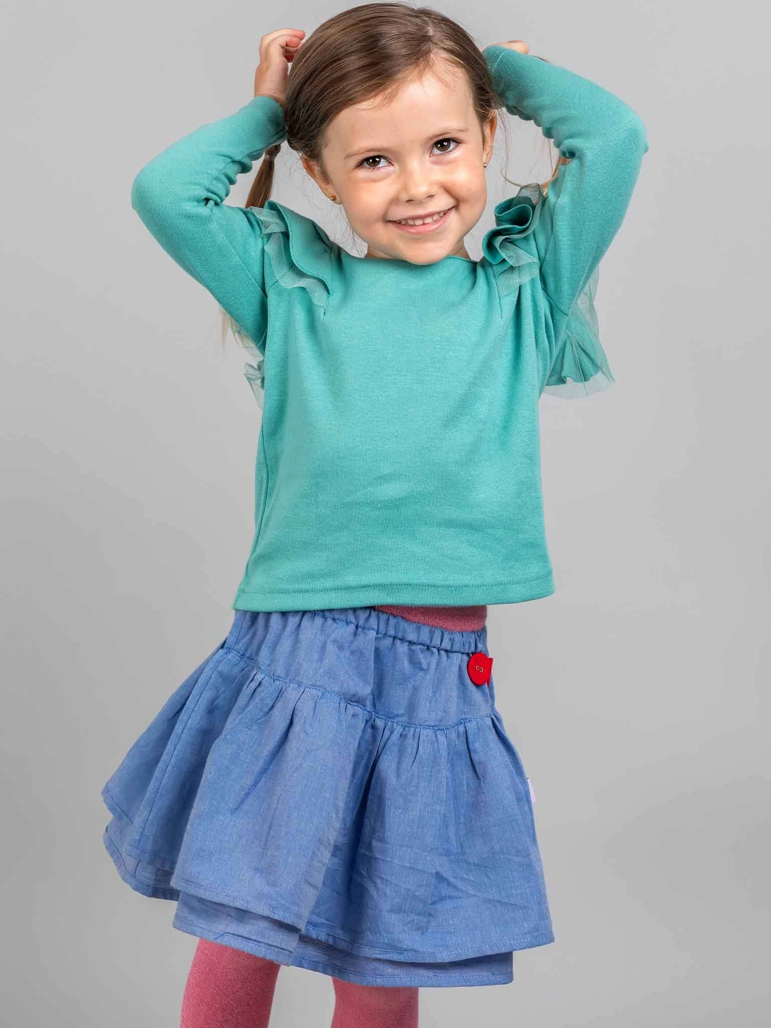 Sweetheart Long Sleeved Tee Teal, Tops - Oobi Girls Kid Fashion