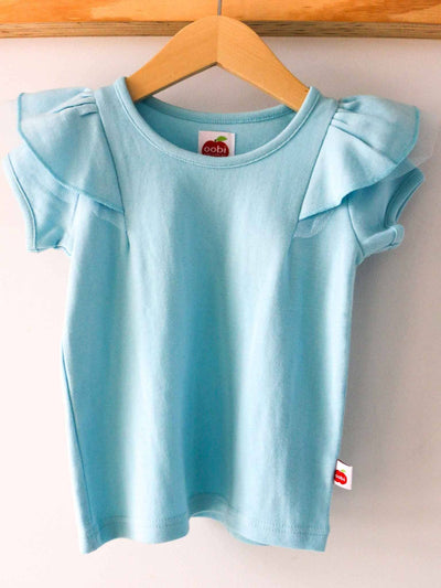 Sweetheart Short Sleeved Tee Cloud Blue, Tops - Oobi Girls Kid Fashion