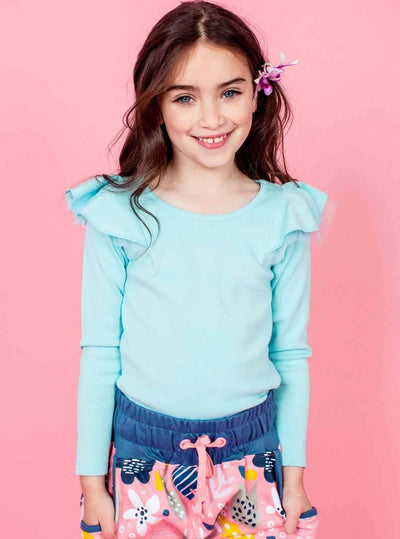 Sweetheart Long Sleeved Tee Cloud Blue, Tops - Oobi Girls Kid Fashion